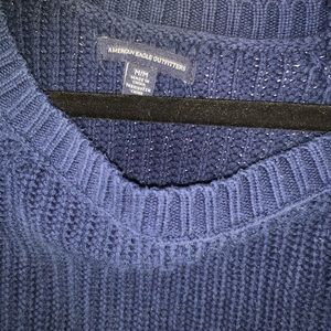american eagle blue crew neck knit sweater